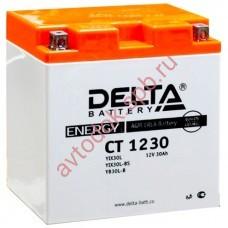АКБ Delta moto 12v 30A/h (R+) 300A  168x126x175