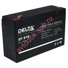 АКБ Delta DT 612  6V 12A/h (клемма F2 зажим 6,35мм) 151х50х94(100)
