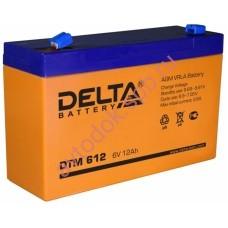 АКБ Delta DTM 612 6V 12A/h (клемма F1 зажим 4,8мм) 151х50х94