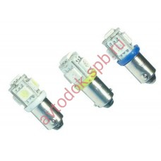 Светодиод T20W (BA9s) 5 SMD LED красный (блистер 2шт.)