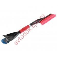 Щетка сметка со скребком и мягкой ручкой 60см красно-черная MEGAPOWER