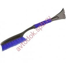 Щетка сметка со скребком и мягкой ручкой 63см синяя MEGAPOWER