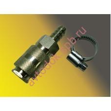 Разъем пневматический быстросъемный d-10 под шланг (+ хомут в к-т) латунь ANDYCAR