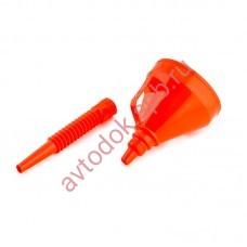 Воронка с сеткой цветная разборная 140мм ГОФРА - оранжевая TOP AUTO