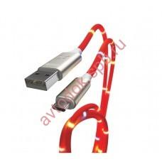 Кабель-переходник USB-micro (CB930-UMU-2A-Music-10R) красный светомузыка 1м.