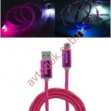 Кабель-переходник светящийся USB-USB Type-C розовый 1м CBL710-UTC-10PK