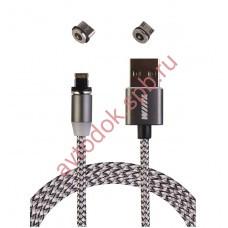 Кабель-переходник микроUSB/USB-Lightning/Type-C магнитный серый1,0м