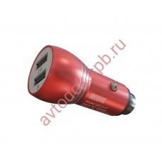 Зарядное устройство для моб. устройств в прикур. c 2 USB красный UCC-2-17R