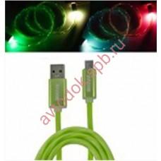 Кабель-переходник светящийся USB-USB Type-C зеленый1м CBL710-UTC-10G