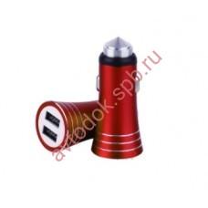 Зарядное устройство для моб. устройств в прикур. c 2 USB красный UCC-2-16R