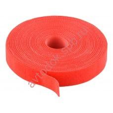 Стяжка для кабеля velcro текстильная лента рулон 10м. красная