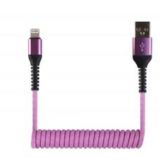 Кабель-переходник USB-Lightning (CB940-U8-12PE) спиральный сиреневый 1,2м