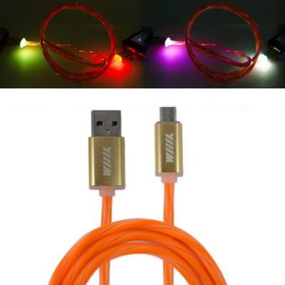 Кабель-переходник светящийся USB-микро USB оранжевый 1м CBL710-UMU-10OG