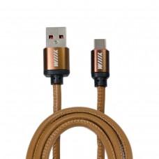 Кабель-переходник микро-USB(CB810-2A-UTC-LR-10CF) кофейный эко-кожа 1м.