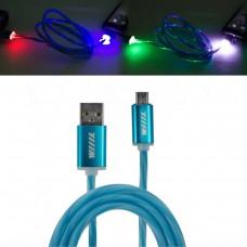 Кабель-переходник светящийся USB-микро USB синий 1м CBL710-UMU-10BU