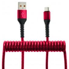 Кабель-переходник микро-USB(CB940-UMU-12R) спиральный красный 1,2м