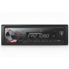 Магнитола AVS-811R 1din/красн/USB/AUX/SD/FM/4*50/съемная панель