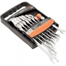 Набор ключей 8пр рожково-накидных  трещеточно-шарнирных (8-19) пласт. холдер