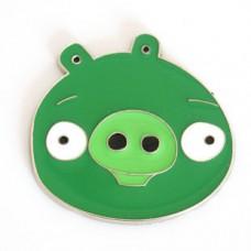 """Наклейка металлическая 3D """"Свинка зеленая"""" Angry Birds"""