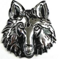 """Наклейка металлическая 3D """"Морда волка серебряная"""""""