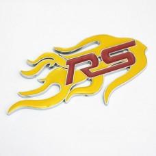 """Наклейка металлическая 3D """"RS-желтое пламя"""""""