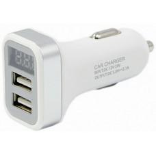 Зарядное устройство для моб. устройств в прикур. с вольтметром/амперметром белый